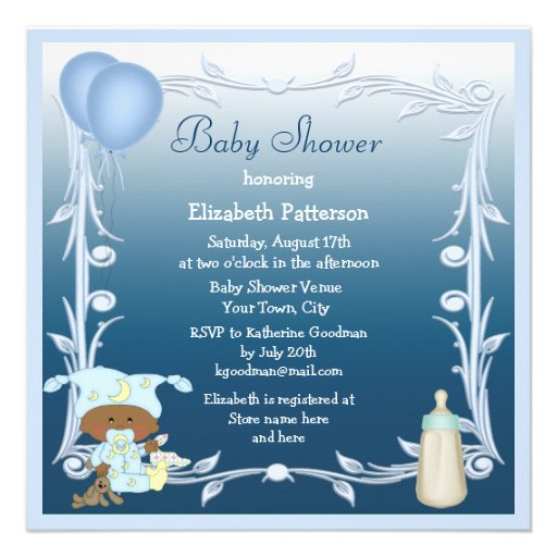 African American Baby & Balloons Blue Baby Shower Announcements