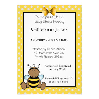 African American Baby Bee Personalized Announcements