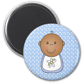 African American Baby Boy   2 Inch Round Magnet