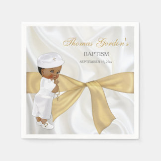 African American Baby Boy Baptism Christening Paper Napkin