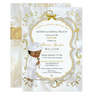 African American Baby Boy Baptism Gold Cross Card