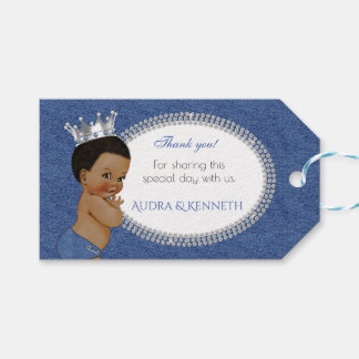 African American Baby Boy Denim & Diamonds Crown Gift Tags