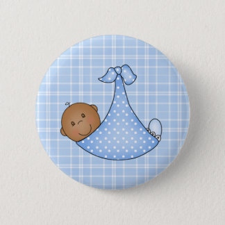 African American Baby Boy in Blanket  Button