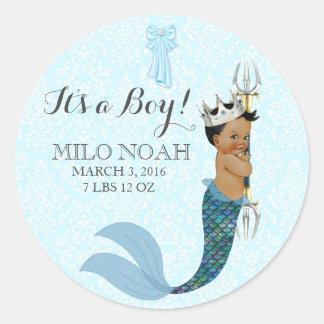 African American Baby Boy Merman Prince Crown Classic Round Sticker