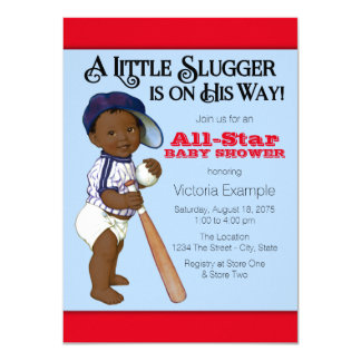 "African American Baby Boy Shower 4.5"" X 6.25"" Invitation Card"