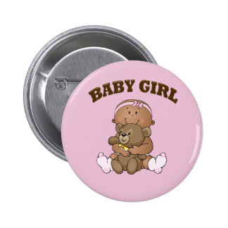 African American Baby Girl and Bear Button