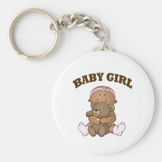 African American Baby Girl and Bear Keychain