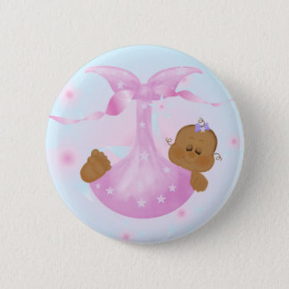 African American Baby Girl in Blanket Pinback Button