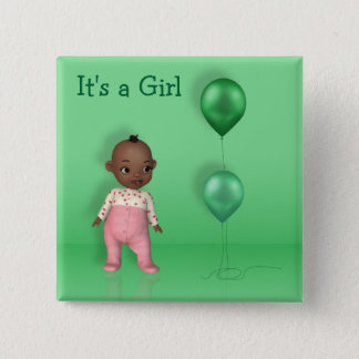 African American Baby Girl - It's a Girl Button