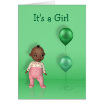 African American Baby Girl - It's a Girl Card
