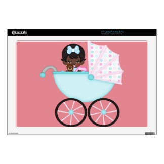 African American Baby Girl Pink Carriage Decals For Laptops