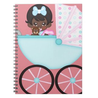 African American Baby Girl Pink Carriage Spiral Notebooks