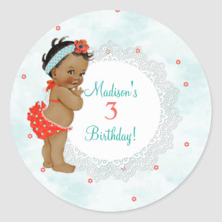 African American Baby Girl Red Bathing Suit Lace Classic Round Sticker