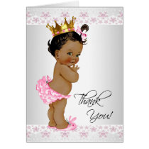African American Baby Girl Shower Thank You Card