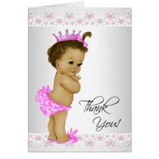 African American Baby Girl Shower Thank You Cards