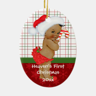 African American Baby Gir's First Christmas Orname Ceramic Ornament