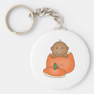 African American Baby in Pumpkin Keychain