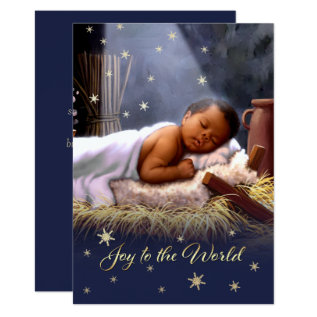 African American Baby Jesus Flat Christmas Cards at Zazzle