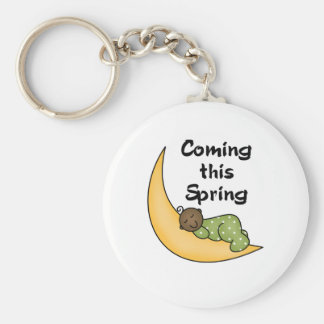 African American Baby on Moon Spring Key Chains