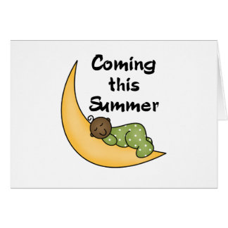 African American Baby on Moon Summer Card