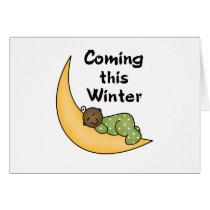 African American Baby on Moon Winter Card