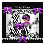 African American Baby Shower Baby Cute Girl Zebra Custom Invites