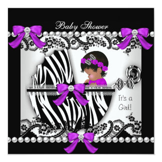 """African American Baby Shower Baby Cute Girl Zebra 5.25"""" Square Invitation Card"""
