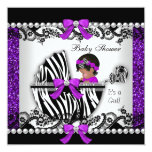 African American Baby Shower Baby Girl Glitter Card