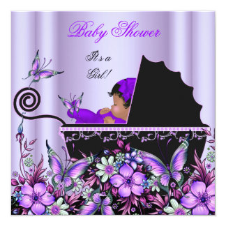 African American Baby Shower Baby Girl Purple Card