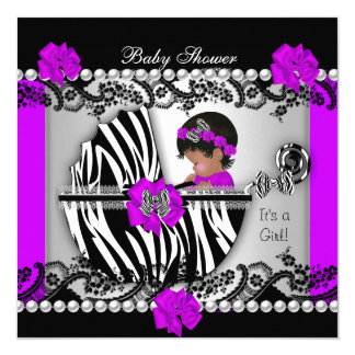 African American Baby Shower Baby Girl Zebra 5.25x5.25 Square Paper Invitation Card