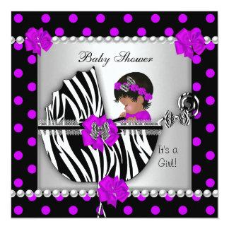 African American Baby Shower Baby Girl Zebra Spots Card