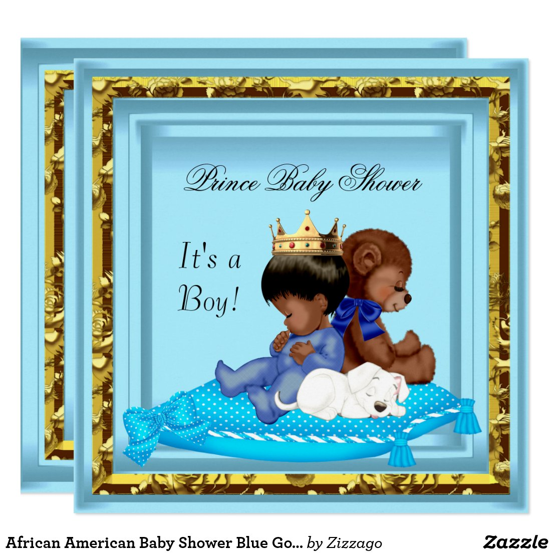 African American Baby Shower Blue Gold Boy Prince Card