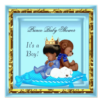 """African American Baby Shower Blue Gold Boy Prince 5.25"""" Square Invitation Card"""