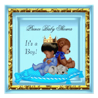 African American Baby Shower Blue Gold Boy Prince Invitations