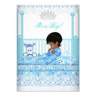 African American Baby Shower Blue Lace Boy Prince 4.5x6.25 Paper Invitation Card