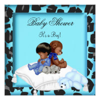 African American Baby Shower Boy Animal Bear Invites