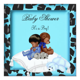 African American Baby Shower Boy Animal Bear Invites