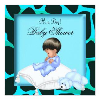 African American Baby Shower Boy Animal Print Card