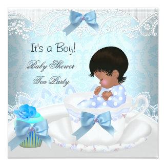 African American Baby Shower Boy Blue Baby Teacup Custom Invite