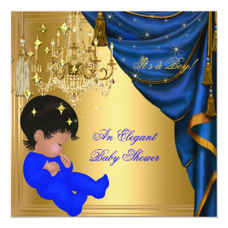 African American Baby Shower Boy Blue Gold Invites
