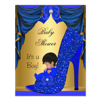 """African American Baby Shower Boy Blue Gold Shoe 4.25"""" X 5.5"""" Invitation Card"""