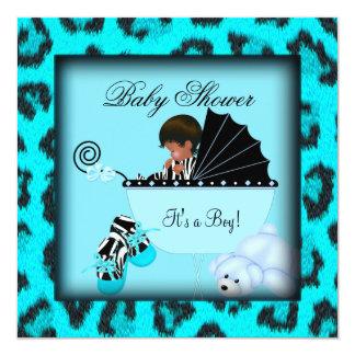 African American Baby Shower Boy Zebra Animal Card