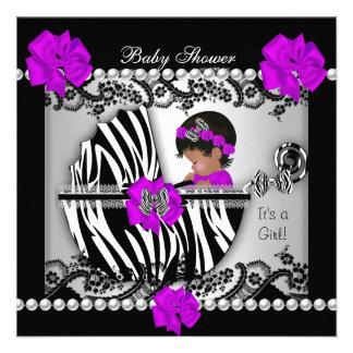 African American Baby Shower Cute Baby Girl Zebra Custom Invitations