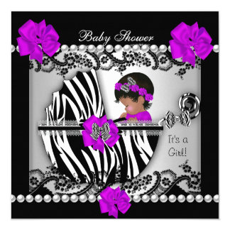 African American Baby Shower Cute Baby Girl Zebra 5.25x5.25 Square Paper Invitation Card
