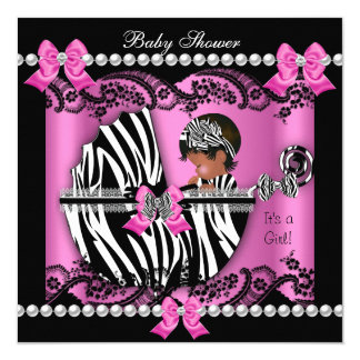 Perfect African American Baby Shower Cute Girl Pink Zebra Card