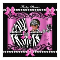 African American Baby Shower Cute Girl Pink Zebra Custom Invite