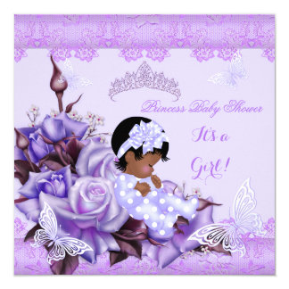 African American Baby Shower Girl Butterfly Lilac Card