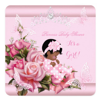 African American Baby Shower Girl Butterfly Pink Card