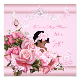 African American Baby Shower Girl Butterfly Pink 5.25x5.25 Square Paper Invitation Card