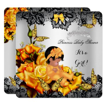 Toddler & Baby themed African American Baby Shower Girl Butterfly Yellow Card